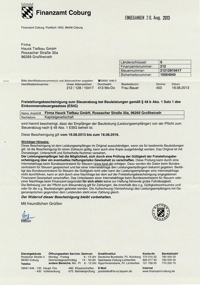 Hauck-Tiefbau-Freistellungsbescheinigung